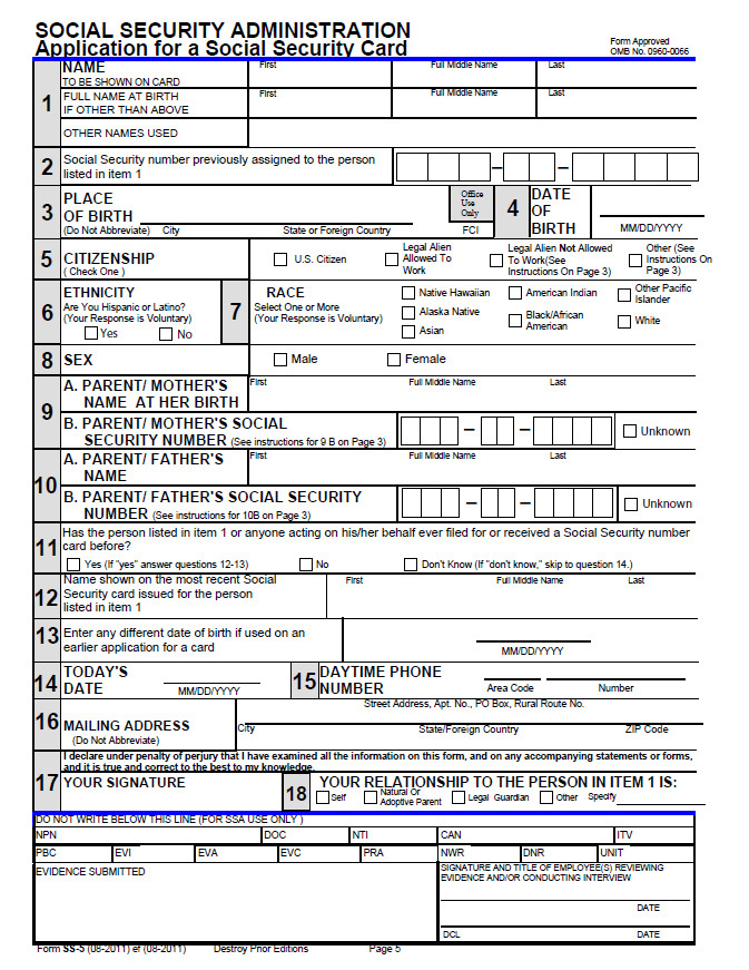 Aanmeldingsformulier voor de Social Security Card / Formulário para obter o cartão da Seguranca Social